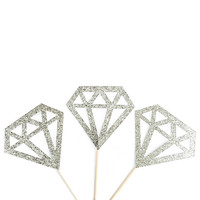 Silver Geometric Diamond Cupcake Toppers - Silver Glitter Cupcake Toppers - Wedding Decor // Engagement Party // Bridal Shower Decor