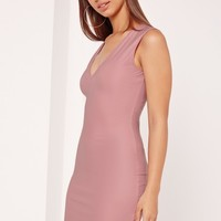 Missguided - Wet Look Dress Mini Pink