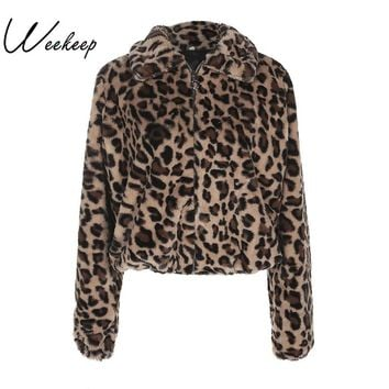 Weekeep Winter Women Warm Thick Leopard Coat Turn-Down Collar Zipper Faux Fur Coats Casaco Feminino Female Harajuku 2018 Jacket