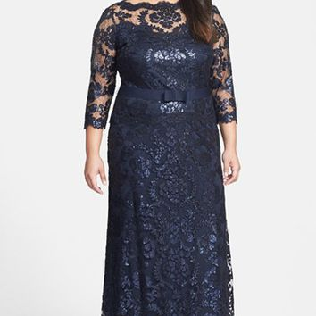 Plus Size Women's Tadashi Shoji Belted Sequin Lace Gown