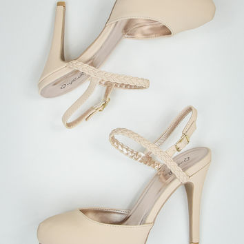 Faux Suede Ankle Heels in Nude