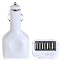 2.1A 4 x USB Port Car Charger (White)