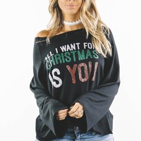 All I Want For Christmas Is You Black Loose Fit Top