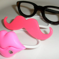 Mustache Must Have shades glasses lips ponytail holders hairbands hair accessories lot of 3 set rhinestones pink black