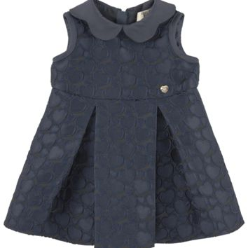 Baby Girls Jacquard Navy Blue Dress