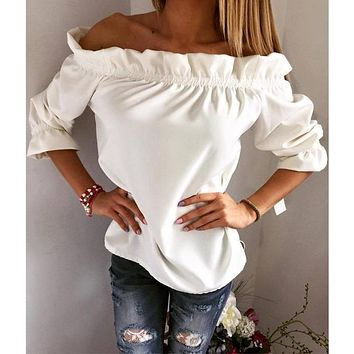 New 2017 Fashion Women Blouse Puff Sleeve Slash Neck Soild Shirt Strapless Off Shoulder Ruffles Feminine Blouses Ladies Tops