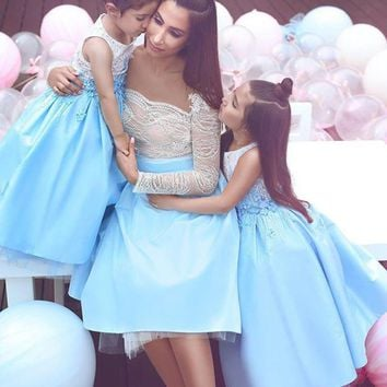 Robe De Cocktail Mother And Daughter Gown Short Prom Dresses Wit