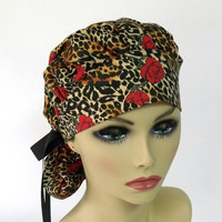 Women's Bouffant Scrub Hat or Surgical  Cap Leopard and Roses