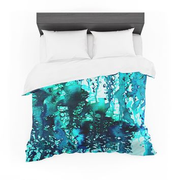 """Ebi Emporium """"The Perfect Storm - Turquoise"""" Blue Teal Painting Featherweight Duvet Cover"""