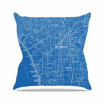 "Catherine Holcombe ""Los Angeles Streets"" Blue Map Throw Pillow"