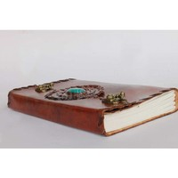 Leather Journal with green stone