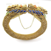 Chinese Dragon Bracelet, Enamel Horned Dragon Heads Salmon Coral Eyes, Woven Mesh Bangle, 22K Yellow Gold Over Silver Chinese Export Jewelry