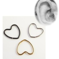 ac PEAPO2Q 16G Heart Shape Earring Nose Ring Tragus Piercing Labret Titanium Hollow Heart Closure Daith Cartilage