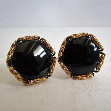 Vintage 60s Onyx Cuff Links HICKOK 1960s Black Gold Tone Lattice Mens Cufflinks