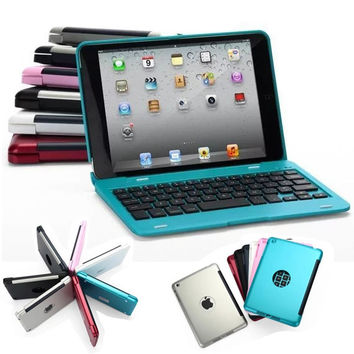 2015 New Wireless Bluetooth Keyboard Case Cover For Apple iPad Mini 1 2 3 Retail Box Foldable Stand Case Bluetooth 3.0