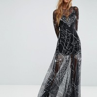 ASOS Halloween Printed Tulle Maxi Dress at asos.com