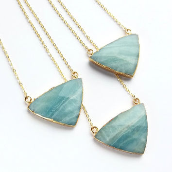 Amazonite Triangle Stone Necklace Amazonite Necklace Geometric Necklace Green Stone Jewelry Amazonite Jewelry Geometric Pendant Gold Stone