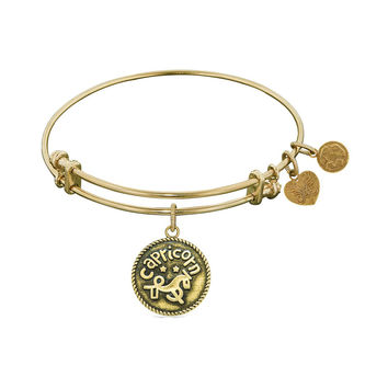 Antique  Smooth Finish Brass Capricorn - December Angelica Bangle, 7.25 Inches Adjustable