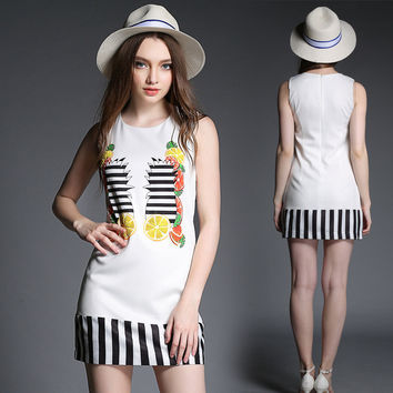 Striped Printed Sleeveless Shift Mini Dress