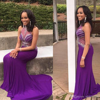 High Neck Prom Dress,Purple Prom Dress,Long Evening Dresses