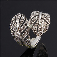 White Gold Plated Leaf Engraved Ring For Women