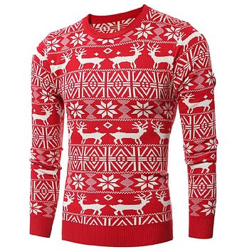 Christmas Deer Pattern Sweater For Men Winter Wind Men Christmas Sweaters Red Wool Cardigan Men