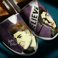 Hand painted shoes- justin bieber