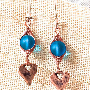 Copper and Turquoise Sea Glass Earrings, copper jewelry turquoise sea glass jewelry boho rustic jewelry heart earrings long