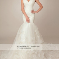 Tulle Over Satin V-Neck Trumpet Gown