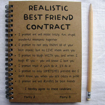Realistic best friend contract 5 x 7 from journaling jane realistic best friend contract 5 x 7 journal altavistaventures Images