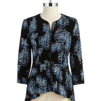 Alex Evenings Metallic Floral Cardigan