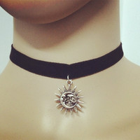 New cloth Lace chain Tattoo sun pearl choker necklace