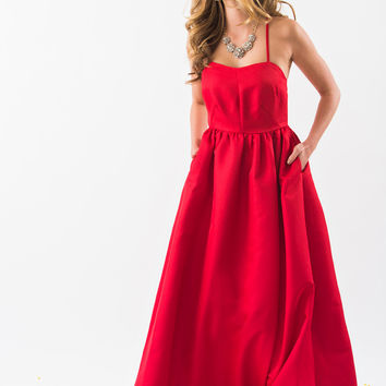 Paula Red Fit and Flare Cross Back Gown