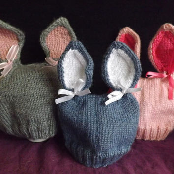 Baby Bunny Set - Knitted Hat, Thumbless Mittens and Booties - Knit Bunny Beanie