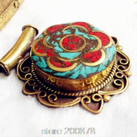 TBP713   Nepal handmade vintage brass capped turquoise coral big Flower Pendants Tibet Ethnic fashion jewelry