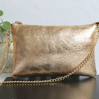 Champagne Distressed Leather Clutch. Light Gold Small Leather Purse. Genuine Leather Wallet
