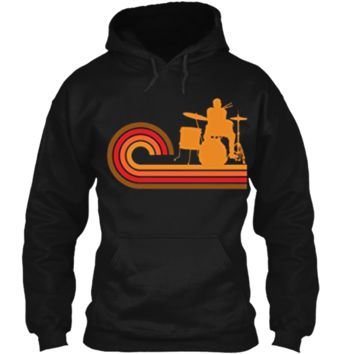 Retro Style Drummer Silhouette Music T-Shirt Pullover Hoodie 8 oz