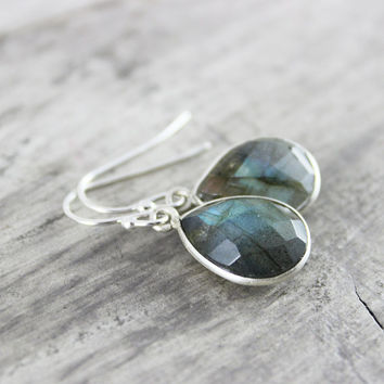 Labradorite Earrings, Sterling Silver Earrings, Labradorite Gemstone Earrings, Gemstone Bezel Earrings, Silver Dangle Earrings, Handmade