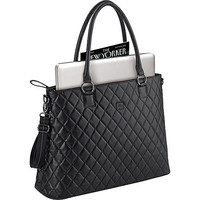 "Quilted 15.6"" Laptop Tote in Black with Silver Hardware"