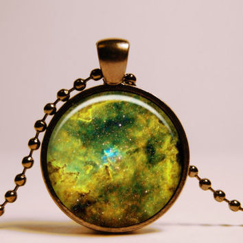Green Turquoise Nebula Pendant Necklace - Universe Galaxy Jewelry