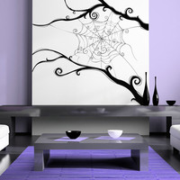 Spider Web, Burtonesque, Branches, Swirls - Decal, Sticker, Vinyl, Wall, Home, Office, Holiday Decor