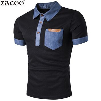 ZACOO Summer Men's Polo shirts Pocket Leather Jeans Splicing Lapel Short Sleeve Men Polo Shirt Short Sleeves Collar Cotton