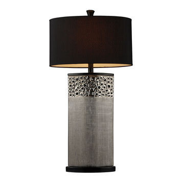 Bellevue Table Lamp in Silver Plating with Oval Black Shantung Shade
