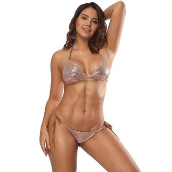 Hot Summer Forest Sexy Sequins Circle String Halter Bikini Set Sparkle Two Piece Push-up Padded Bra Low Waist Swimsuit