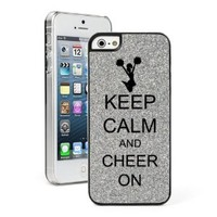 Silver Apple iPhone 5 5s Glitter Bling Hard Case Cover 5G191 Keep Calm and Cheer On