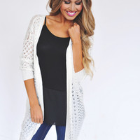 Ivory Knit 3/4th Sleeve Cardi