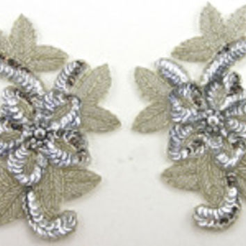 "Flower Pair Silver Beads and Sequins 6"" X 3.5"""