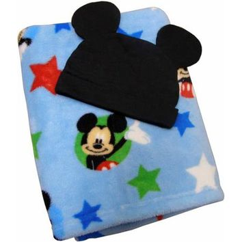 Disney Baby Bedding Mickey Mouse Blanket with Beanie - Walmart.com