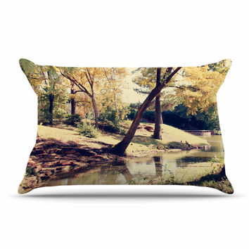 "Sylvia Coomes ""Walk In The Park "" Green Photography Pillow Case"