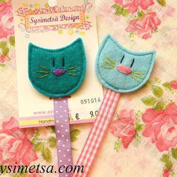 Felt Cat Bookmark, Handmade Cat Bookmarks, Colorful Embroidery Bookmark, Book Lovers Gift, Reading Mark